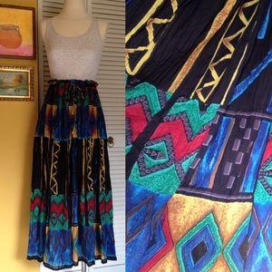 Vintage Long Flowy Crazy Ethnic Print Maxi Skirt